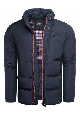 Pánska prešívaná bunda na zimu v tmavomodrej farbe