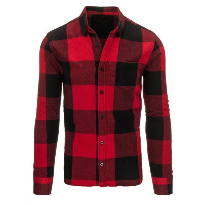 d742d064a63d Kockovaná pánska košeľa v červeno-čiernej farbe - skvelamoda.sk