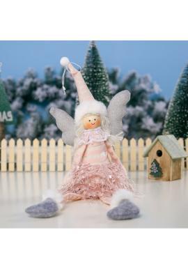 Ružový vianočný anjel s visiacimi nohami