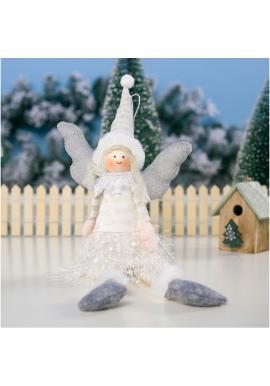 Vianočný anjel s visiacimi nohami v bielej farbe