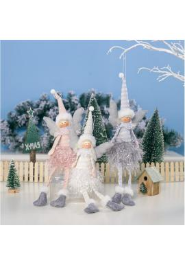 Sivý vianočný anjel s visiacimi nohami