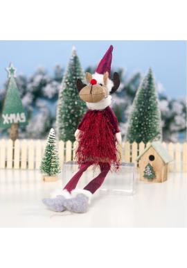 Vianočný sediaci sob s visiacimi nohami v červenej farbe