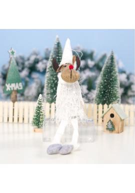 Biely vianočný sediaci sob s visiacimi nohami