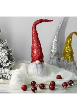 Červený vianočný trpaslík s flitrovanou čiapkou