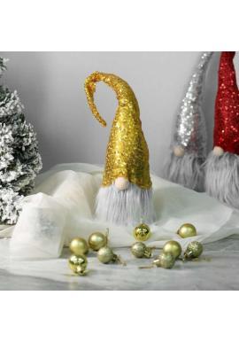 Vianočný trpaslík so žltou flitrovanou čiapkou