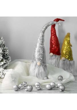 Strieborný vianočný trpaslík s flitrovanou čiapkou