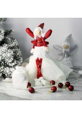 Vianočný anjel s visiacimi nohami v červenej farbe