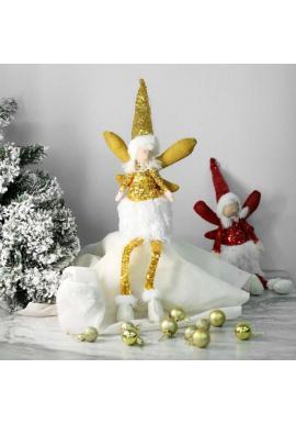 Žltý vianočný anjel s visiacimi nohami