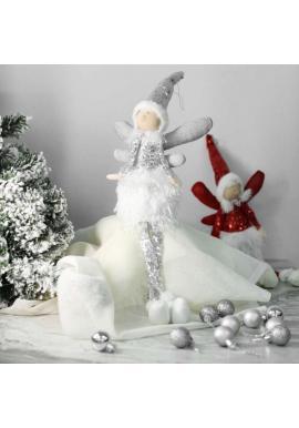 Vianočný anjel s visiacimi nohami v striebornej farbe