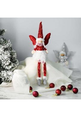 Červený vianočný anjel s visiacimi nohami