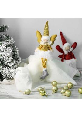 Vianočný anjel s visiacimi nohami v žltej farbe