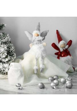 Strieborný vianočný anjel s visiacimi nohami