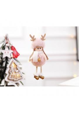 Ružový visiaci vianočný anjel