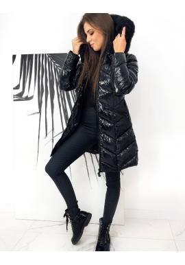 Prešívaná dámska bunda čiernej farby na zimu