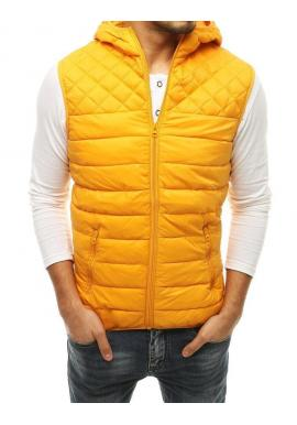 Prešívaná pánska vesta žltej farby s kapucňou