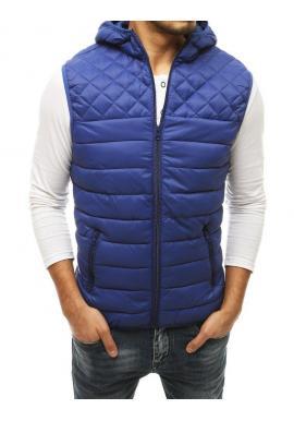 Pánske prešívané vesty s kapucňou v modrej farbe