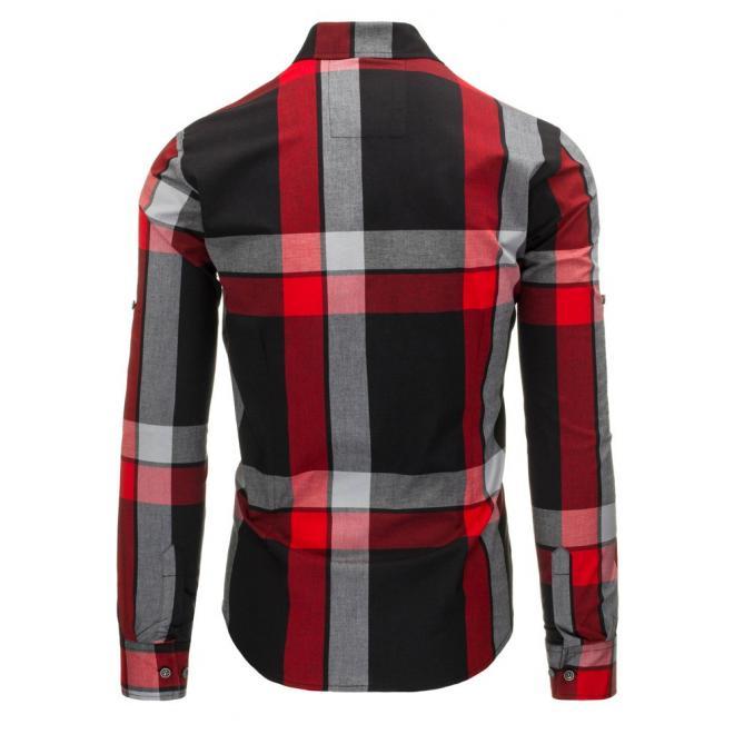 Pánska károvaná košeľa zeleno-čiernej farby