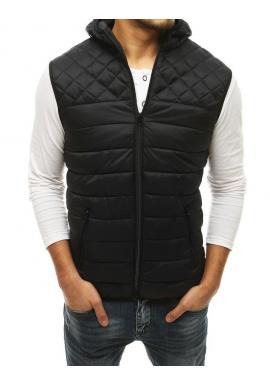 Prešívaná pánska vesta čiernej farby s kapucňou