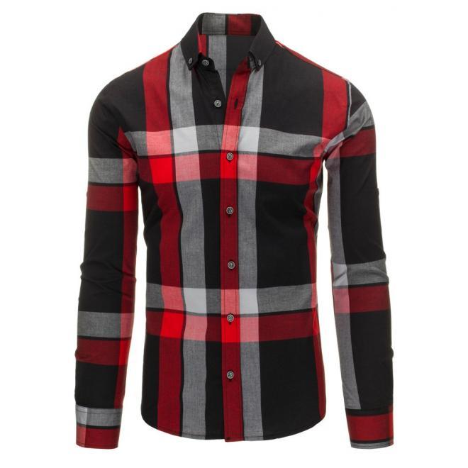 d7d7e94ba2d9 Čierno-červená pánska košeľa s károvaným motívom - skvelamoda.sk