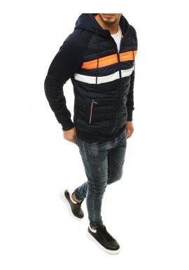 Prechodná pánska bunda tmavomodrej farby s prešívaním
