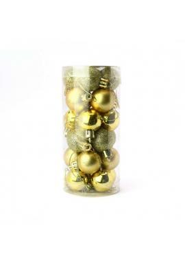 Sada 24 zlatých vianočných gúľ s priemerom 3 cm