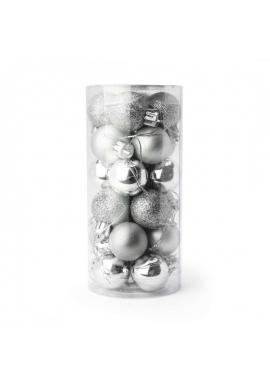 Vianočná sada 24 gúľ s priemerom 3 cm v striebornej farbe