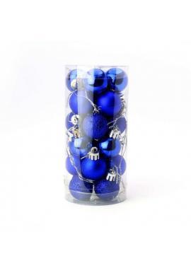 Sada 24 modrých vianočných gúľ s priemerom 3 cm