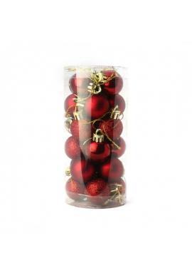 Vianočná sada 24 gúľ s priemerom 3 cm v červenej farbe