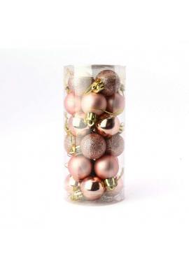 Sada 24 ružovo-zlatých vianočných gúľ s priemerom 3 cm