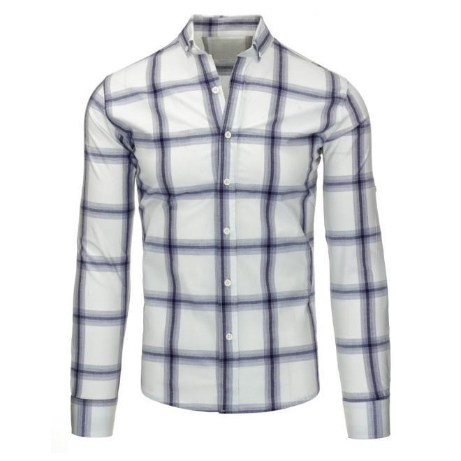 Károvaná košeľa modrej farby s dlhým rukávom
