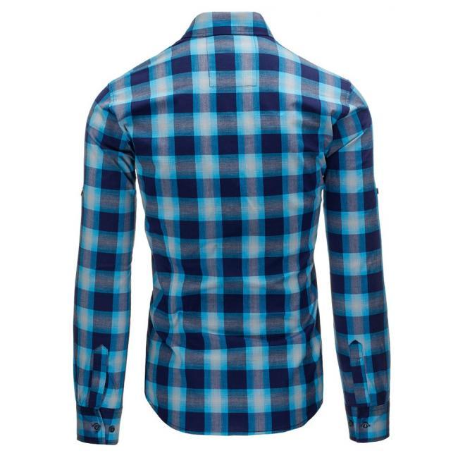 Košeľa s károvaným motívom v modro-červenej farbe