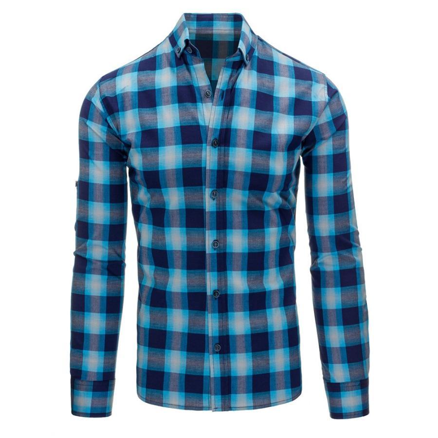 6b67d9847117 Károvaná pánska košeľa modrej farby s dlhým rukávom. Košeľa s károvaným  motívom v modro-červenej farbe. Loading zoom