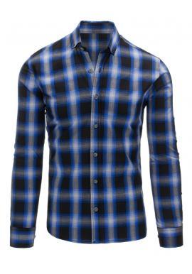 Pánska károvaná košeľa v modrej farbe