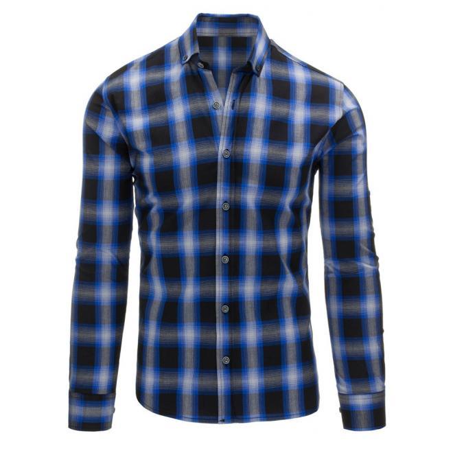 24d759303336 Čierno-modrá pánska košeľa s károvaným motívom - skvelamoda.sk