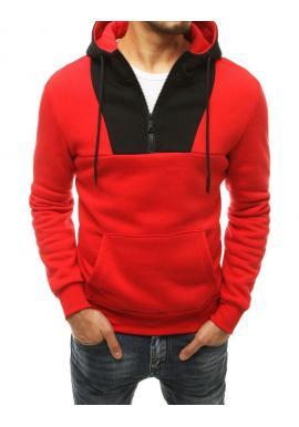 Červená štýlová mikina s kontrastnou vložkou pre pánov