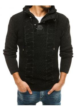 Čierny vlnený sveter s vysokým golierom pre pánov