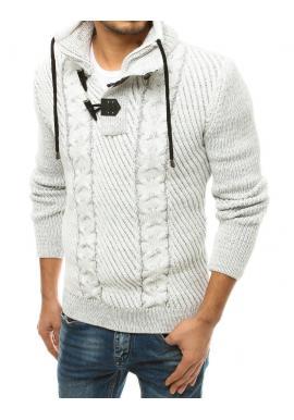 Pánsky vlnený sveter s vysokým golierom vo farbe ecru