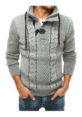 Vlnený pánsky sveter sivej farby s vysokým golierom