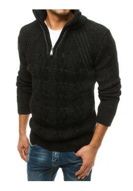 Čierny vlnený sveter s vysokým zapínaným golierom pre pánov