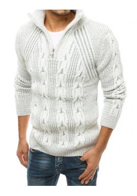 Pánske vlnené svetre s vysokým zapínaným golierom vo farbe ecru