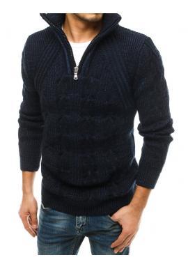 Vlnený pánsky sveter tmavomodrej farby s vysokým zapínaným golierom