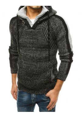 Čierny vlnený sveter s kapucňou pre pánov