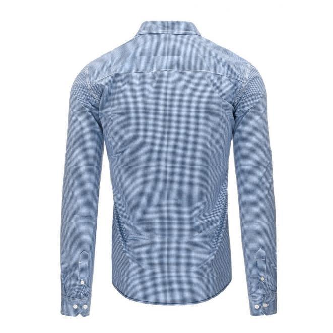Džínová pánska košeľa modrej farby s nášivkou