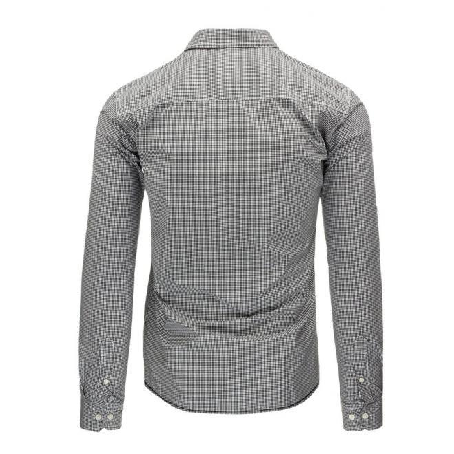 Kockovaná pánska košeľa v modro-bielej farbe