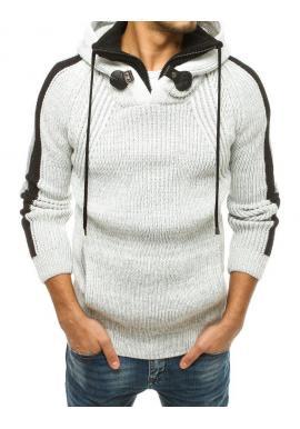 Pánsky vlnený sveter s kapucňou vo farbe ecru