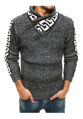 Vlnený pánsky sveter čiernej farby s vysokým golierom