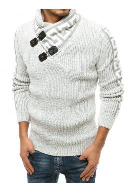 Biely vlnený sveter s vysokým golierom pre pánov