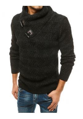 Pánsky hrubý sveter s vysokým golierom v čiernej farbe