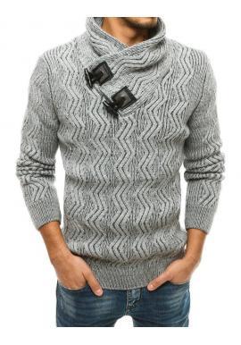 Hrubý pánsky sveter sivej farby s vysokým golierom