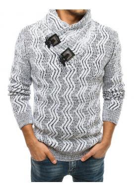 Biely hrubý sveter s vysokým golierom pre pánov